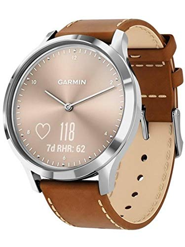 Garmin vivomove HR, Hybrid Smartwatch for Men and Women, Silver with Tan Italian Leather
