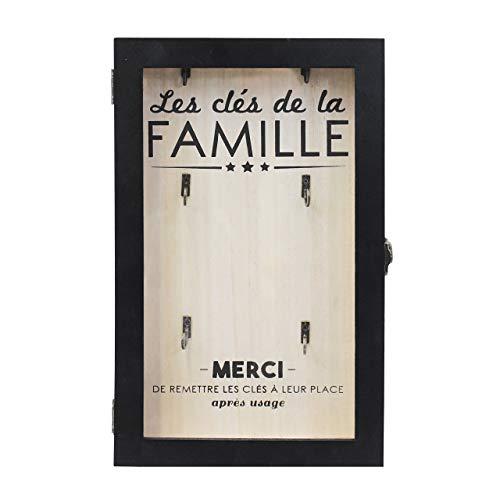 The Home Deco Factory HD4678 Boîte à clés murale Les clés de la famille Bois métal et plastique Beige noir et transparent H30 x 19,5 x 5 cm