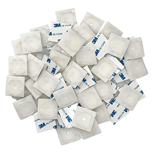 intervisio Juego Clips Adhesivos para Bridas de Cable 40 mm x 40mm, Soportes para las Brida de Plastico, Blanco, 100 Piezas