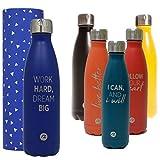 Sternitz Botella de Agua Hydra Acero Inoxidable con Aislamiento al vacio. Mantiene Tus Bebidas frías por 24 Horas y Calientes por 12 Horas. Water Bottle (Azul Marino)