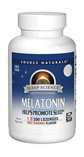 Source Naturals Sleep Science Melatonin 1 mg Orange Flavor - Helps Promote Sleep - 200 Lozenge Tablets
