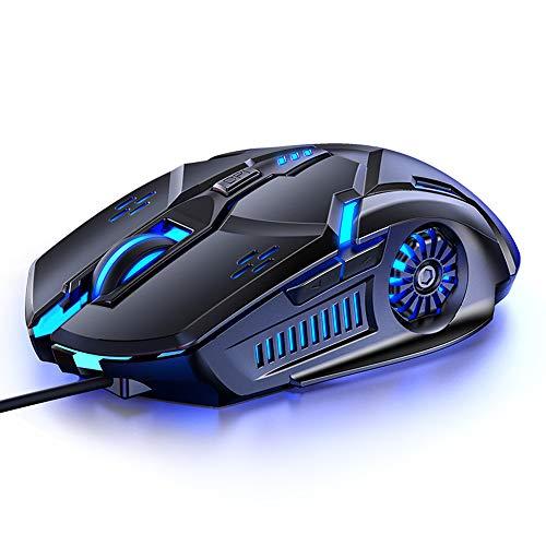 Ratón profesional con cable USB para videojuegos, ratón de juego con 6D botones para ordenador y portátil, 4 niveles ajustables de 3200 DPI con 7 colores que cambian automáticamente