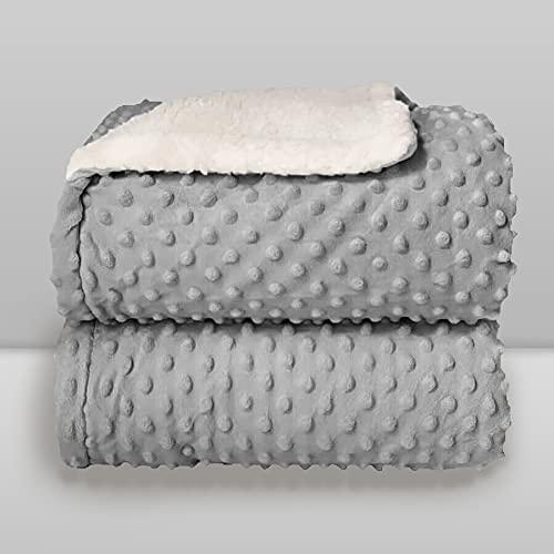 Cobertor Donna Laço Bebê Plush com Sherpa Dots Bolinhas Cinza Glacial