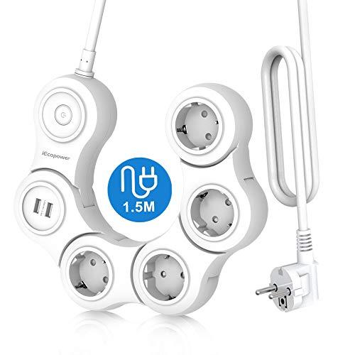 iEcopower Schlangenförmige Multifunktions-Steckdosenleiste mit 4 Buchsen und 2 USB-Anschlüssen, ausgestattet mit EMI-Überspannungsschutz, kann um 180 Grad gedreht werden, 1,5 M weiß