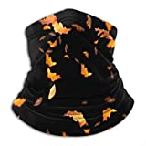 Máscara de pañuelo facial Neck Gaiter Tube, Ear Warmer Headband & Face Mask. Autumn Leaves Stock Image On Black Ultimate Thermal Retention