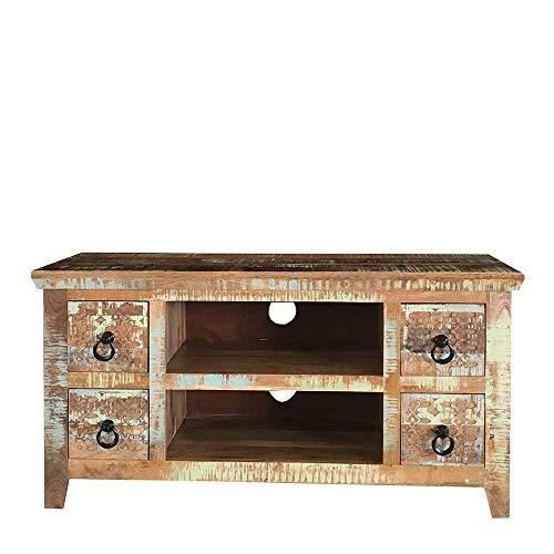 Pharao24 TV Möbel mit Schnitzereien in Braun Bunt Shabby Chic Look