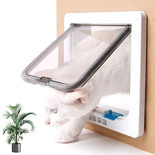 EnweHiko Plastikrahmen Energieeffiziente Hundeklappe, 2-Wege-System, Katzenklappe Innentür & Außenmontage, 4 manuelle Verschlussoptionen, Einfache Montage, Verschiedene Größen,M