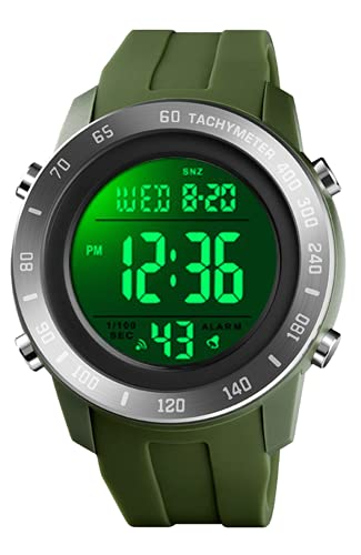 Reloj Digital Hombre 50M Impermeable Relojes Deportivos para Hombres Exteriores Relojes de Pulsera de Grande con LED/Alarma/Temporizador/Cronómetro Verde