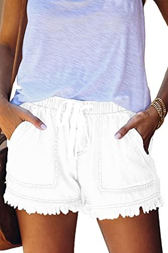 YOCUR Womans Denim Shorts Flowy Fashion Board Shorts Elastic Waist Fringe Distressed Shorts Drawstring Boxer Shorts Juniors Lounge Jean Shorts White S