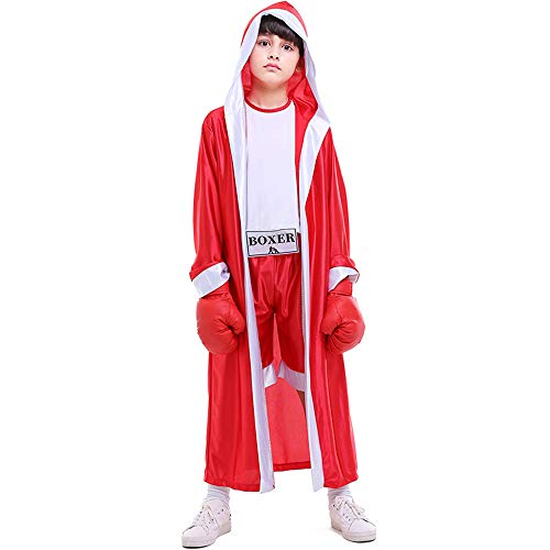 Children Boxing Costume Boxer Cosplay Halloween Party Dress Decoration Role Playing Uniform Carnival Boxing Robe for Kids (Asian L=US Medium, Red)