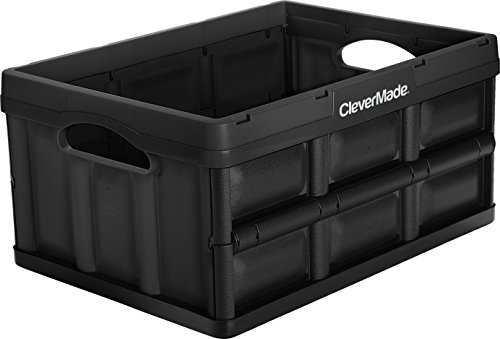 CleverMade 32L Collapsible Storage Bins - Durable Plastic Folding Utility Crates, Solid Wall Stackable Containers for… 4