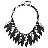 COOLSTEELANDBEYOND Silber Schwarz Blatt Charme Quaste Schwarz Kette Anhänger Lätzchen Halsband...