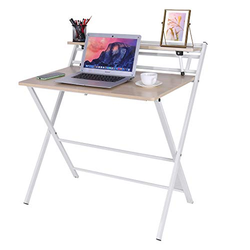 Luonita Folding Computer Desk For Small Space 2 Tiers Computer Desk With Shelf Space Saving Design Home Office Small Desk With Metal Legs Foldable Study Writing Table No Assembly Us Stock Buy Online In Costa Rica