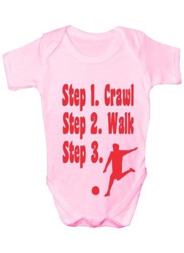 Steps To a Footballer/Football ~ Funny Babygrow ~ Cadeau pour bébés garçon/fille Gilet pour bébés - Rose - 3-6 mois
