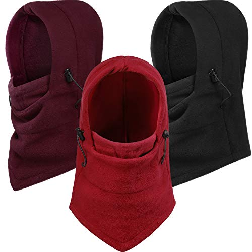 Blulu 3 Pieces Thermal Balaclava Face Mask Wind Resistant Work Balaclava Outdoor Activities Mask Hood for Men and Women (Black, Red, Wine Red)