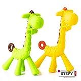 2x Beissring Giraffe für Baby & Kleinkind aus hygienischem Silikon - Sicher & BPA-frei - buntes Kau-Spielzeug Zahnungshilfe Schmerzlinderung beim Zahnen