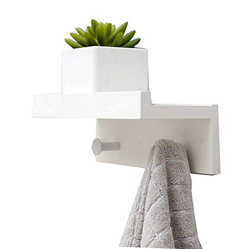 Margueras - 1 estante toallero perchero de pared (bambú con estante y ganchos), blanco, 2K