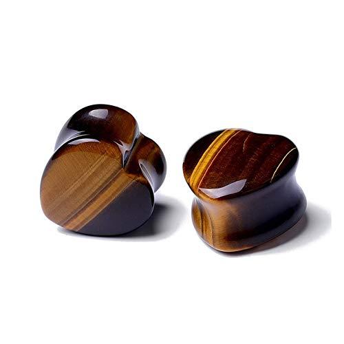 DYKJK Expansor de medidores de oído 2PCS 6-22mm Tapones for los oídos de Piedra Calibrador Pendiente túnel de la Carne Rosa de Piedra Oreja Piercing Strecher Expander para Hombres Mujeres