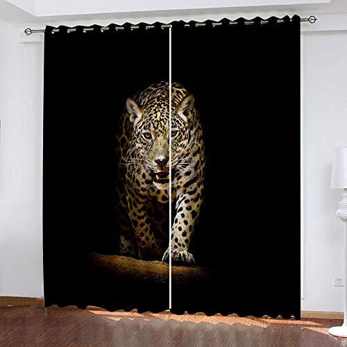 MENGBB Cortina Opaca Microfibra Infantil 240x230cm Leopardo Animal Caminando 95% Opaca Cortina aislantes de frío y Calor Decorativa con Ojales Estilo para Salón Habitación y Dormitorio