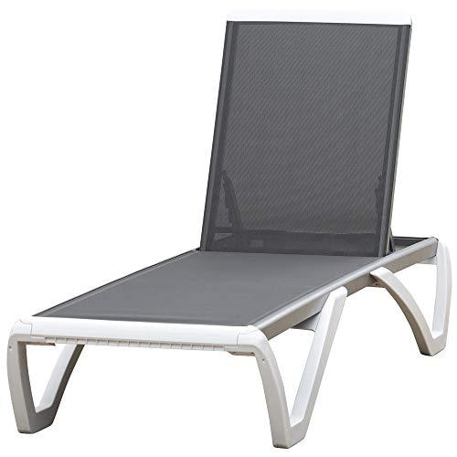 Outsunny Tumbona Reclinable de Jardín con Ruedas y Respaldo Ajustable en 5 Niveles Sillón Relax de Aluminio para Terraza Balcón Piscina 170x67,5x95 cm Gris Blanco