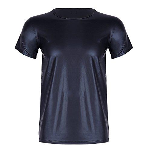 YiZYiF Homme Maillot de Corps Cuir Verni T-Shirt Moulant Slim Fit Tank Top à Manche Courte Haut de Sport Danse Bal Col Ronde Costume Musclation Veste