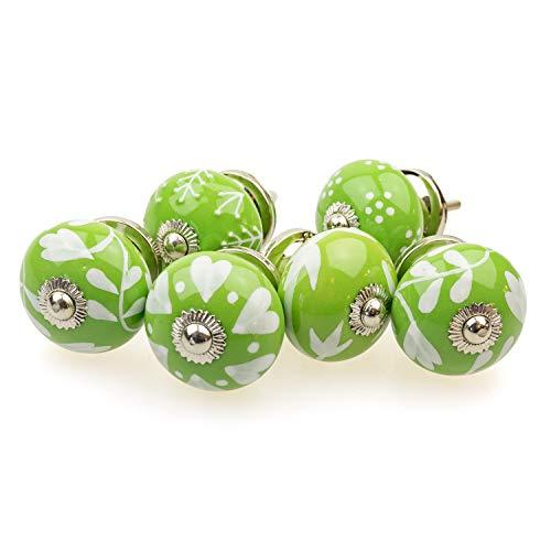 Set di 6 pomelli per mobili 097GN in misto verde argento – Jay Button ceramica porcellana dipinta a mano vintage per armadi, cassetti, comò, porte