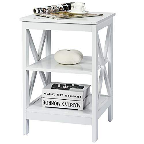 COSTWAY Bedside Table, 3 Tiers Multifunctional Nightstand Storage Unit, Living Room Bedroom Sofa Side End Table (White)
