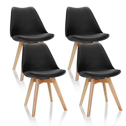 hjh OFFICE 4er Set Esszimmerstühle Scandi Kunststoff Schwarz Massivholz Beine Buche, Stuhl gepolstert Retro-Design 661011