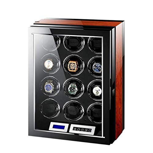 GLXLSBZ Enrollador de Reloj para Relojes automáticos con 12 Posiciones de enrollador Mecánico, Motor Importado, giradiscos, 4 Modos, Caja de Reloj con Carcasa de Madera