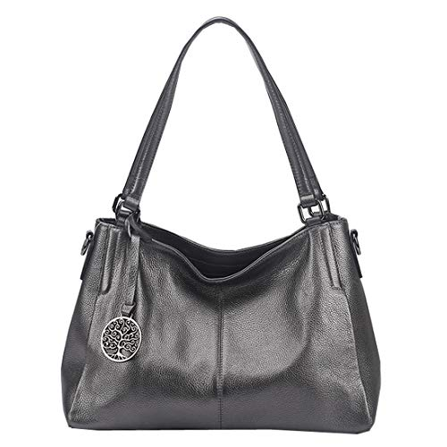 Heshe Leather Handbags for Women Top Handle Totes Bags Shoulder Handbag Satchel Designer Purse Cross Body Bag for Lady (Grey)