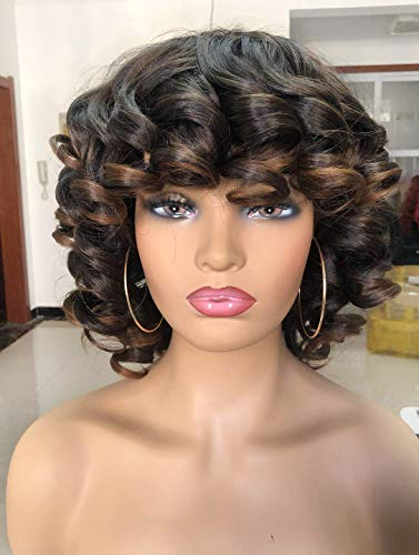 Annivia Short Afro Curly Wigs with Bangs for Women Kinky Curly Hair Wig for Black Women 2 Tone Ombre Dark Brown Big Bouncy Fluffy Curly Wig