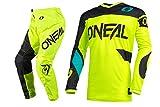 Oneal Element Racewear Black/Neon Motocross Dirt bike Offroad MX Jersey Pants Combo Package Riding Gear Set (Jersey Adult X-Large/Pants W38)