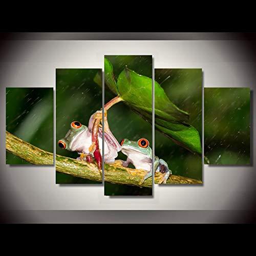Cuadro impreso en HD sobre lienzo, 5 piezas/piezas, carteles de decoración modular de animales de rana, arte de pared, marco para el hogar, sala de estar 80x150cm