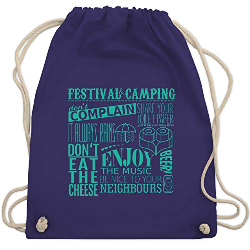 Shirtracer Statement - Festival camping lettering - Unisize - Lila - turnbeutel festival - WM110 - Turnbeutel und Stoffbeutel aus Baumwolle