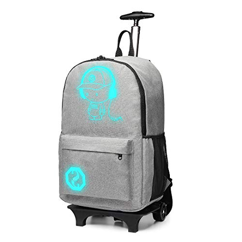 Kono Functional Laptop Rucksack with Rolling Wheels Lightweight and Waterproof Luminous Music Boy Detachable Trolley Backpack Cabin Luggage Bag (Grey)