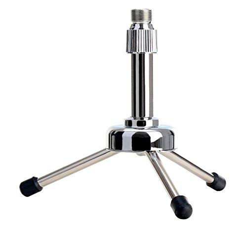 Pronomic MST-5S tafel-microfoonstandaard (met reducerende schroefdraad, ideaal voor poadcasting, geschikt voor grootmembraan microfoons met spin) zilver
