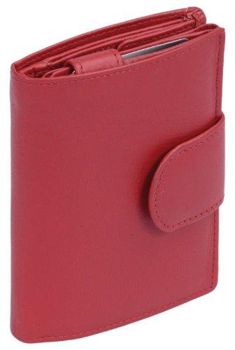LEAS Damenbörse und Herrenbörse mit Außenriegel im Hochformat Echt-Leder, rot Special-Edition, Rot, 12,5x9cm