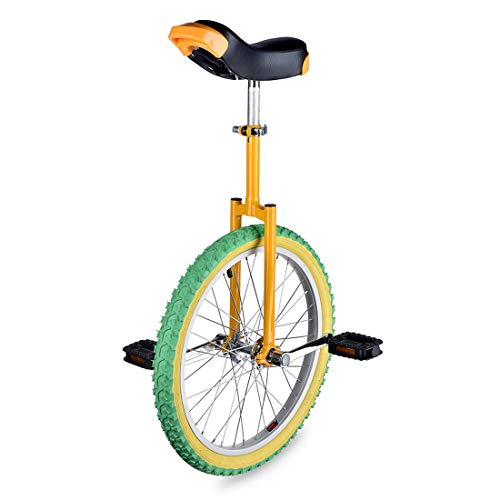 imusicat 20 Inch Unicycles for Adults Kids - [ Strong Manganese Steel Frame ], Unicycles, Uni Cycle, One Wheel Bike for Adults Kids Men Teens Boy Rider, Mountain Outdoor (Green-Yellow)