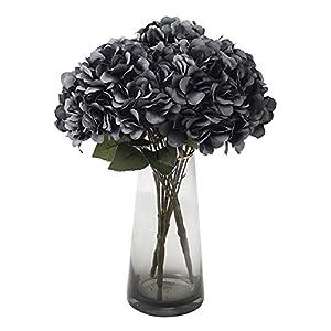kimura's cabin black silk flower artificial hydrangea flowers floral arrangements in vase faux hydrangea stems 5heads for wedding centerpieces for tables halloween party diy decoration (grey black) silk flower arrangements