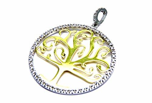 Ciondolo Oro Bianco Giallo 18kt (750) Pendente Albero della Vita con Zirconi Bicolore Donna Ragazza