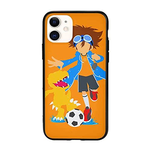 Compatibile con iPhone 12/12 11 Pro Max mini X/XS Max XR 8 7 6 6s Plus SE Caso Samsung S21 Ultra Black Custodie per cellulari Cover Agumon Digimon