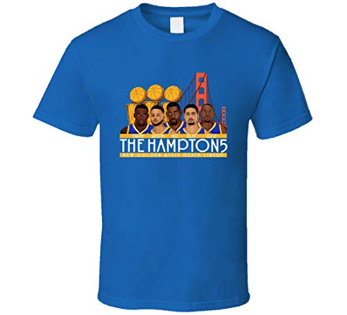 ALISUN Golden State Thompson Curry Durant Green The Hamptons 3 Anillos Dinastía Cool Fan Camiseta Azul Real