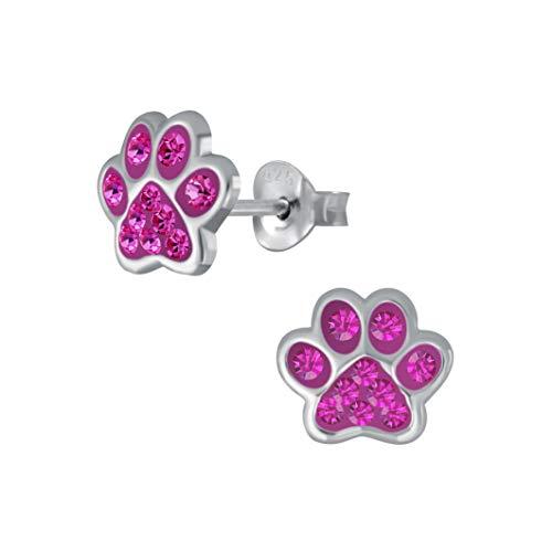 Laimons - Orecchini per bambine e bambini, a forma di zampa di cane, zampa di zampa di zampa con glitter rosa, 7 mm, in argento Sterling 925