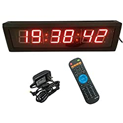 GAN XIN Multifunctional 2.3'' High 6 Digits LED Wall Clock, with Countdown/up Digital Timer, 12/24-Hour Real Time Clock, Stopwatch by Remote Control, Red Color