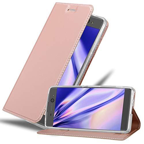 Cadorabo Hülle für Sony Xperia XA in Classy ROSÉ Gold - Handyhülle mit Magnetverschluss, Standfunktion & Kartenfach - Hülle Cover Schutzhülle Etui Tasche Book Klapp Style