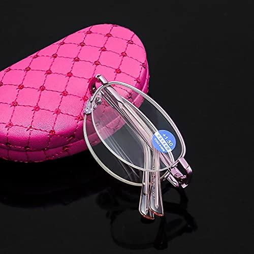 LVLUOKJ Gafas de Lectura Fácil de Doblar Anti Luz Azul Gafas de Lectura con Marco Rosa para Leer Clara Gafas Aumento (Size : +3.5)