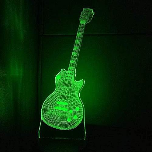 ZWANDP Lámpara de ilusión 3D Led Luz de noche Guitarra Instrumentos musicales Guitarra 7 Cambio de color Escritorio para el hogar Novedad Luminaria