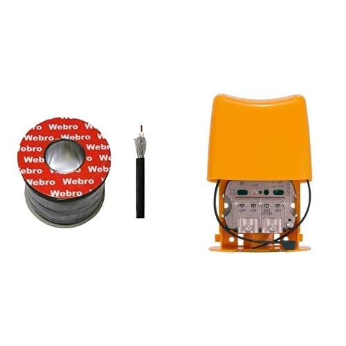 Webro Cable coaxial (50 m, RG6, digital, para antena y televisión por satélite), color negro + Televes 561601- Amplificador de mástil NanoKom (LTE790, 1er Dividendo Digital)