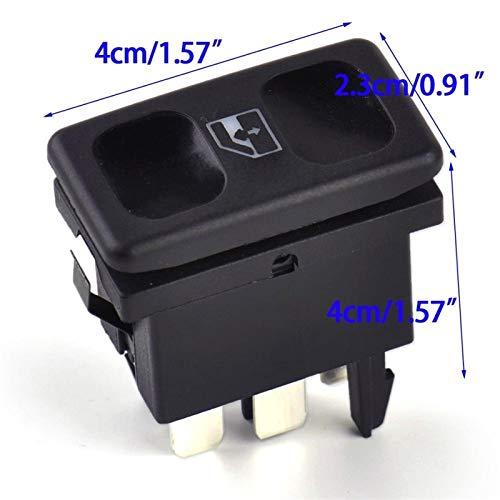 OLDJTK Botón del Interruptor de Control de la Ventana de Potencia de Metal de plástico Negro de Coche for VW Volkswagen Golf Jetta MK2 Polo 1985-1992 OEM # 191959855