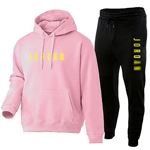 JYNL Sudadera de baloncesto con capucha y números impresos y letras de Jordan, 2 piezas de manga larga, sudadera suelta y pantalones de chándal rosa